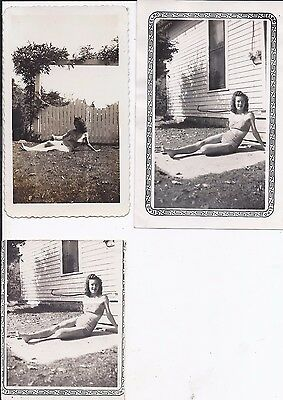 Lot of 3 Snapshots BATHING BEAUTY Sent to Husband in Pacific; Set #2
