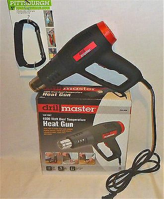 "Drill Master 1500 Watt Dual Temp. Heat Gun With A 5"" Jumbo Aluminum Carabiner"