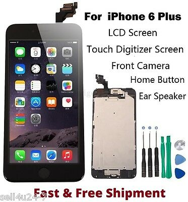 "Black LCD Touch Screen Display Replacement for iPhone 6 Plus 5.5"" 6+ Home Button"