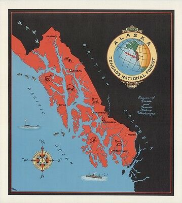 1940 PICTORIAL map Alaska Tongass National Forest  wild life ships POSTER 9880
