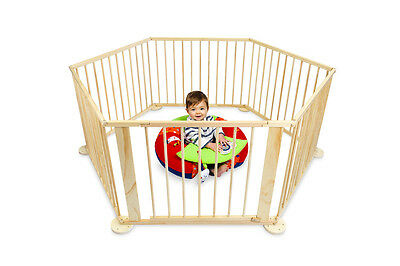 NEW Playpen Bubbli 6 Sided Wooden Natural Children's Furniture