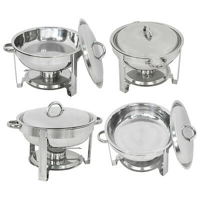 4 Pack Buffet Catering Stainless Steel Chafer Round Chafing Dish 5Qt Party Pack