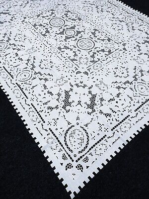 """White 72x144/"""" Embroidered Polyester Cutwork Tablecloth 12 Napkins Wedding Party"""