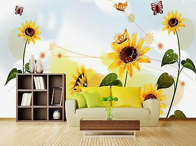 3D sunflower butterfly Wall Paper Print Decal Wall Deco Indoor wall Mural