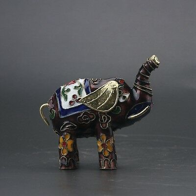 Chinese Cloisonne Handmade Carved Elephant Statue Z262