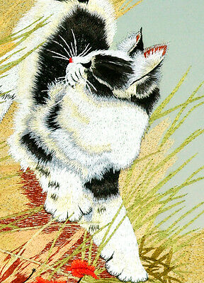 """18"""" Brocaded Chinese Traditional Silk Embroidery Painting: Cat Chase Butterfly"""