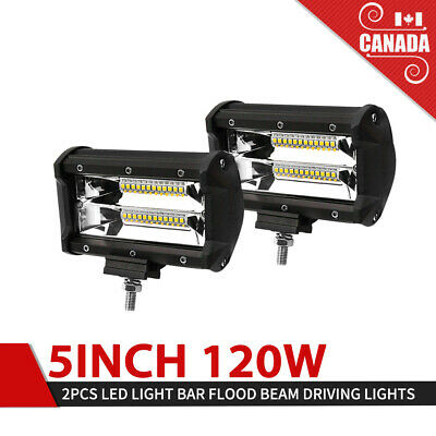 Pair 5inch 120W CREE LED Work Light Bar Flood Beam Offroad Driving Lamp JEEP ATV