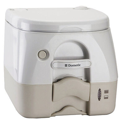 Dometic - 974 Portable Toilet 2.6 Gallon - Tan w/Brackets model 301097402