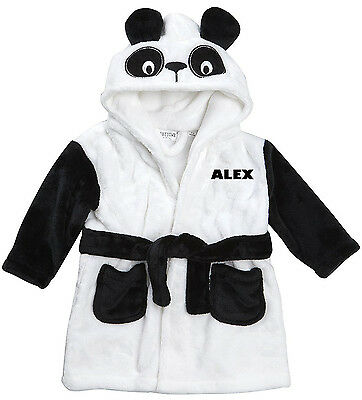 Embroidered Personalised Soft Baby Novelty Cute Panda Dressing Gown Bath Robe