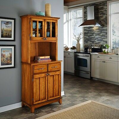 Cottage Oak Tall Buffet Wood Top Sturdy Vintage Style Home Living Room Cabinet