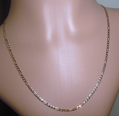 100% Genuine Vintage 9k Solid Yellow Gold Flat 1:3 Figaro Links Chain Necklace