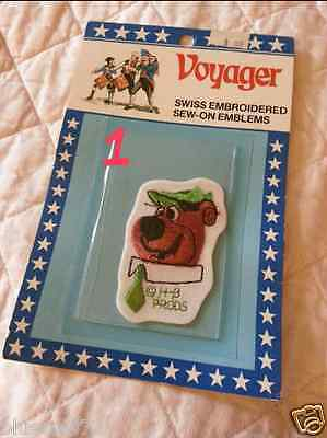 NOS Vintage 70s Voyager YOGI BEAR Swiss Embroidered Sew-On Emblem Patch #1
