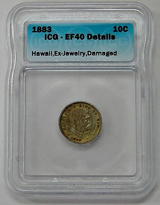 Hawaii - 1883 - Silver 10 Cents Dime - ICG EF 40 Details