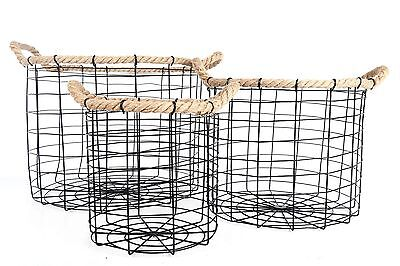 Round Black Retro Wire Storage Baskets With Rope Handles - S/M/L/Full Set - NEW