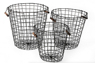 Round Black Retro Wire Storage Baskets With Pine Handles - S/M/L/Full Set - NEW