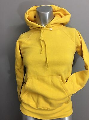 Vtg 60s Sweatshirt Hoodie Pull Over Solid Yellow No Side Seams Plush Interior 12
