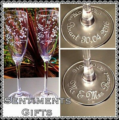 Personalised Engraved Cherry Blossom and Butterfly Champagne Flutes - New