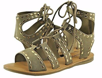 b06266b3283 Women s Shoe Bamboo Bliss 06M Open Toe Lace Up Gladiator Sandals Taupe  New