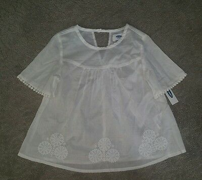 Embroidered white peasant top shirt blouse girls 5T NWT Old Navy