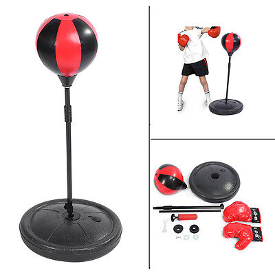 KIDS BOXING TRAINING PUNCH BALL AND BOXING GLOVES ADJUSTABLE 70-105cm CHILD TOY