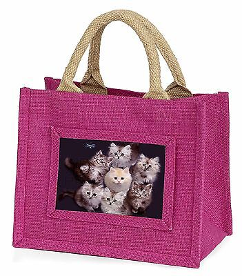 Cute Kittens+Dragonfly Little Girls Small Pink Shopping Bag Christmas, AC-118BMP