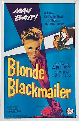 """""""MAN BAIT!""""  BLONDE BLACKMAILER - One Sheet USA Movie Poster 1958 CRIME MYSTERY"""