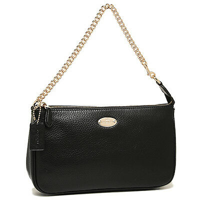 New With Tag COACH F53340 PEBBLED LEATHER LARGE WRISTLET SMALL SHOULDER BAG