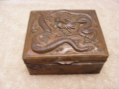Antique Vintage Mixed Metal Japanese Dragon Pill Trinket Jewelry Box Bronze Plat