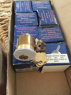 8 new brass arrow ar1 keyway  commercial 1 1/4 inch mortise cylinders 16 keys