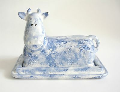 Whimsical Vintage Cow Butter Dish Signed