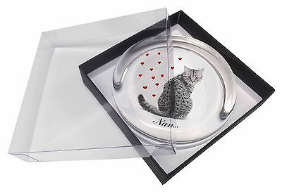 Tabby Cat 'Nan' Sentiment Glass Paperweight in Gift Box Christmas Pres, AC-142PW