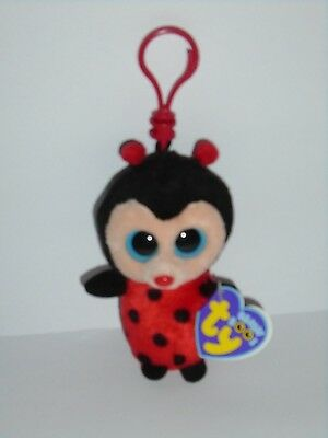 Ty Beanie Boo Keyclip - Bugsy The Ladybird - Purple Tag - Very Rare - New