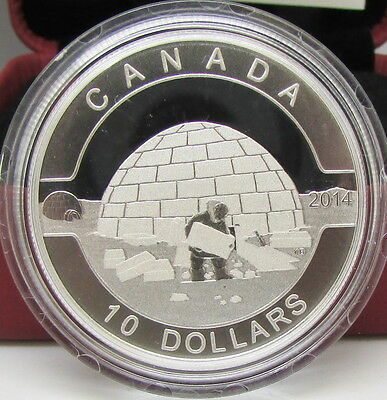 2014 Canada $10 Fine Silver Coin – O Canada – The Igloo – RCM – NO TAX