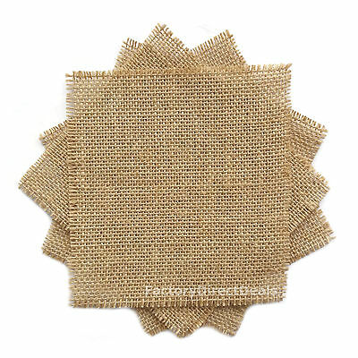 5 x JUTE HESSIAN FABRIC squares Jam Jar Decorative Rustic Shabby Chic Lid Covers