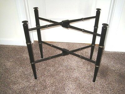Large Antique Bamboo Style Black Wood Tole Tray Stand w/ Gold Painted Bands