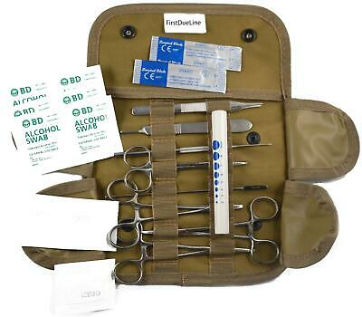 19 pc Tactical Coyote First Aid Surgical Kit Military Molle Pouch Complete Set