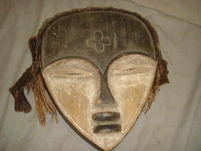 Old African Carved Wood  & Hand Painted Mask w/ Rope & Cloth