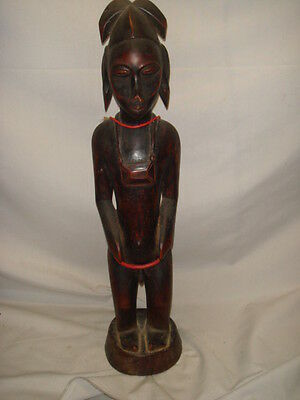 Old African Carved Wood Tall Fertility Man Statue Figure