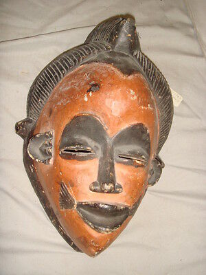 Old African Carved Wood Large Painted Man's  Tribal Mask
