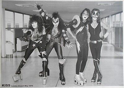 KISS Ace Frehley Gene Simmons London Airport May 1976 33 X 23 Inch B & W POSTER