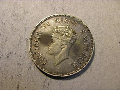 India British 1940 Silver Rupee XF Details Stained Reverse (U90)