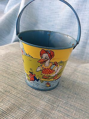 Old King-Kup Easter Tin Toy Sand Pail Candy Container-Hersey Pa..