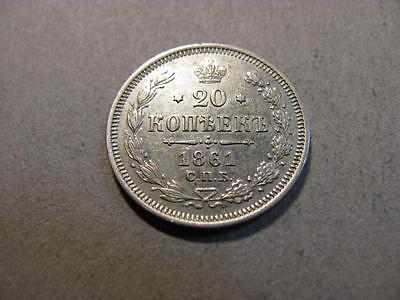 Russia 1861 20 Kopeks AU Silver Coin (T10)