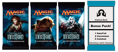 Shadows Over Innistrad Draft Pack - 3 x NEW MtG Boosters + BONUS Prize pack