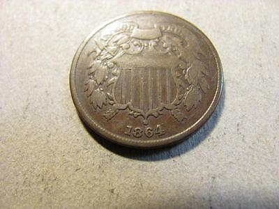 1864 2 Cent Piece Large Motto VG Very Good (T41)