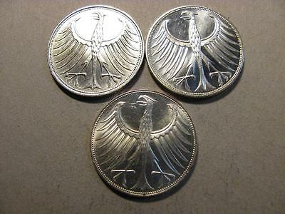 Germany 1970 G 1970 J 1971 G 5 Mark 3 Silver Coin Lot  (T72)