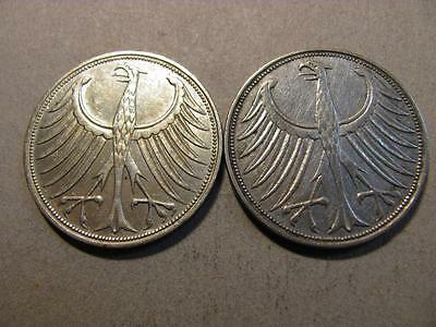 Germany 1951 G 1966 F 5 Mark Silver Coin Lot (T76)