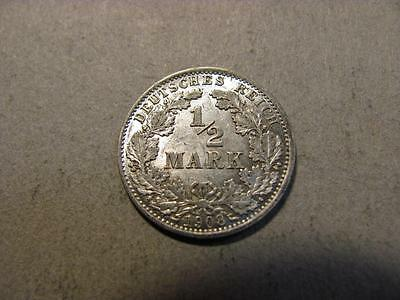 Germany 1908 A 1/2 Mark AU About Uncirculated Silver Coin (T78)