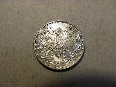 Germany 1916 G 1/2 Mark XF/AU Silver Coin (T79)