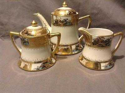Pagoda Nippon 1st Quality HP Scenic and Gold Gilt 3 piece Tea Set Outstanding